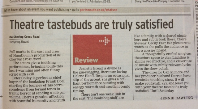 Review of 84 Charing Cross Road in local newspaper The News