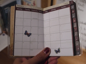 For each month there's a page showing the whole month followed by a double-page spread per week