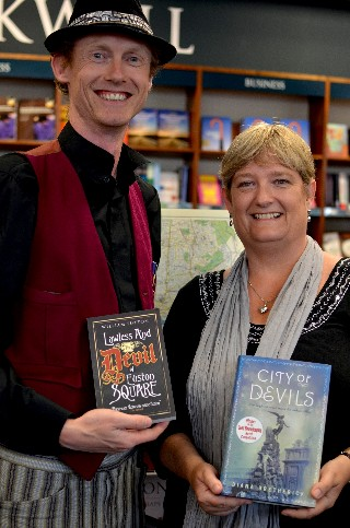 William Sutton and Diana Bretherick at the book launch with their novels, released today. Image courtesy of William Sutton.