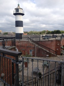 From the upper level, looking across the courtyard at the lighthouse