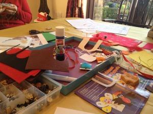 Making Christmas finger puppets