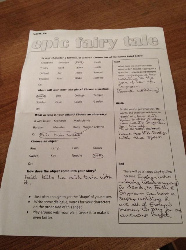 Epic Fairy Tale worksheet
