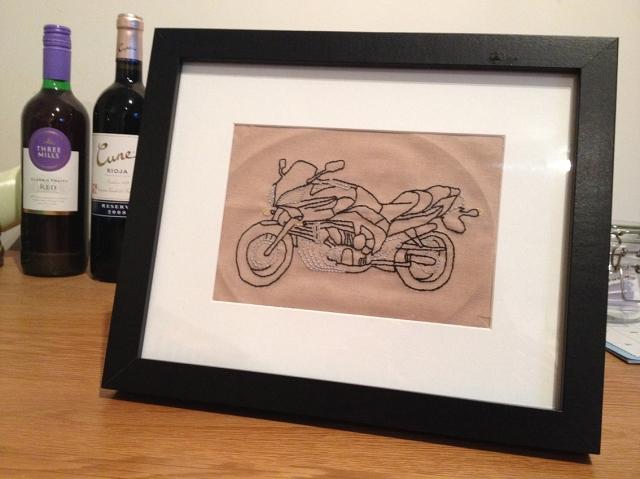 Framed backstitch motorbike