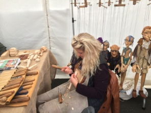 Lena working on a puppet - sorry the shot is out of focus!